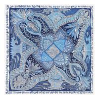 Nueva sarga bufanda de seda de las mujeres anacardo flores imprimir pañuelo para el cuello Lady Echarpes grandes bufandas cuadradas mujer Foulard chales envuelve 130x130cm