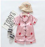 Erkek kız tasarımcı karikatür ayı ev giyim çocuk pijama setleri çocuklar iki parçalı set kısa kollu takım elbise çocuk ev giysileri