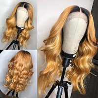 Honey Blonde Human Hair Wig With Baby Hair Preplucked Gluele...