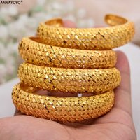 ANNAYOYO 4 Stücke / Los Dubai-Armband-Frauen äthiopische Goldfarbe Armbänder Naher Osten Beste Hochzeit Schmuck Afrikanische Verzierungen