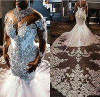 Vestidos de novia de cristal de lujo con cuentas sirena con el vestido de manga larga de encaje apliques Sheer cuello alto cuello de Sudáfrica novia de la boda de playa