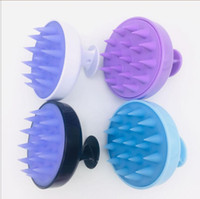Los masajes de champú del cuero cabelludo cabeza del cepillo del Massager Siliocne lavar el cabello peine ducha cuerpo cepillo de baño de color 10+