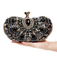 Designer-2019 Stickerei Vintage Style Frauen-Abend-Beutel gebördelten Diamanten Tageskupplungen mit Griff Kristallpartei-Hochzeit Tasche