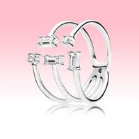 Nouvelle Arrivée Open Glace Cube Bague Femmes Girls Party Bijoux pour Pandora 925 Sterling Sterling CZ Diamond Rings avec boîte d'origine