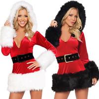 Tops Sexy Mulheres V Neck Natal traje de Santa vestidos extravagantes Xmas Cosplay Hoodie