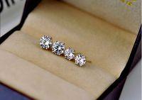 Hombres de las mujeres unisex de diamantes CZ clásico de 6 puntas Pendientes de plata de oro blanco 18k tamaño de los pendientes del amor del boda CZ 3mm 4mm 5mm 6mm 8mm 10mm