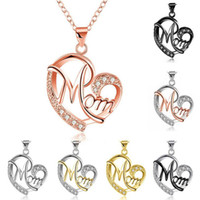 Día de la venta caliente de cristal colgante corazón de plata colgantes de los collares de la madre para la joyería de moda al por mayor mamá de la nave libre 0132WH