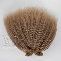 Indian 1 g / s 100 g # 27 Brown Afro Kinky Pre U Memory Stick kératine Tip Raw cuticules Alignés Vierge Remy prolongements de cheveux humains
