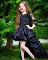 عالية الجودة الساتان الأسود ليتل الأميرة اللباس 3/4 الأكمام الطويلة أعلى أدنى زهرة فتاة اللباس مع يزين الرباط الاطفال مسابقة ثوب