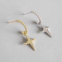 Fine Jewelry Silver Earrings Pendientes Genuine 925 Sterling Silver Cross Dangle Drop Earrings For Women Brinco Gifts Wedding Party Gift