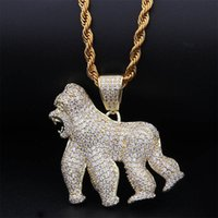 Gold Silver Animal Gorilla King Kong Necklace & Pendant With...