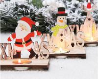Santa Claus Navidad de la vela de madera titular de Navidad ornamentos del regalo de escritorio Decoración Para Cafetería Bar fiesta de Navidad Decoración