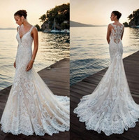 Ivory Deep V Neck Mermaid Wedding Dress Full Lace Appliques ...
