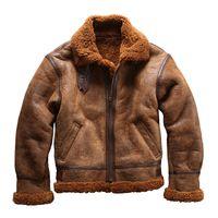 Jaqueta de couro de ovelha AVIREXFLY grande lapela B3 força aérea terno de vôo de pele e couro em um