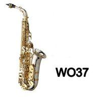 حار بيع العلامة التجارية MARGEWATE WO37 ألتو ساكسفون إب اللحن النيكل مطلي الذهب مفتاح E شقة آلة موسيقية مع حالة شحن مجاني