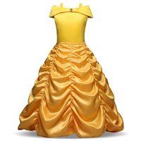 Sarı Tekne Boyun Çiçek Kız 'Elbiseler Ruffles Uzun Kızlar Pageant Elbiseler Ucuz Çocuklar Resmi Giyim Stokta