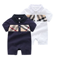 Summer Baby Boys Romper Fashion Plaid manches courtes Lapel infantile Jumpsuit Mignon Lattice du nouveau-né coton Casual Onesie Y1598
