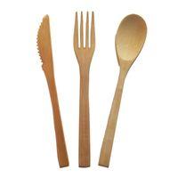 Натуральный бамбуковый нож и вилка-ложка 3 штурма Органические деревянные столовые приборы Одноразовые посуды Охрана окружающей среды Биоразлагаемый пользовательский логотип