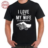 Mens MTB Mountain Bike T Shirt I Love My Wife Lets Me Cyclin...