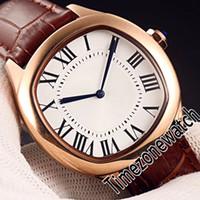 Nova unidade De WGNM0006 Mens Automatic Assista Rose Gold Silver Dial Big Roman Marcadores Brown Leather Strap Relógios Timezonewatch E104a1