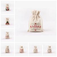 Presente cordão de Natal sacos de lona grande saco de armazenamento doces Sacos renas Imprimir Organizador Sacos de Santa Sack Bolsa Para Kid LXL642-L