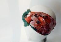 Designer 100% Seda Cruz Headband Elastic Hair Bands Lenço Para As Mulheres Menina Retro Floral Pássaro Flor Turbante Presentes Headwraps