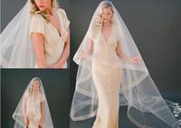 2020 Nuovi due strati Cover Cover Volto Cattedrale Lunghezza Bridal Ribbon Edge Veils con pettine Bianco Avorio Custom Made Wedding Veil