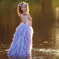 Lavanda Halter Girls Girls Pageant Vestidos Tule Caminhada Longa Flor Menina Vestidos 2020 Para O Casamento Colorido Flores Backless Baby Party Dress