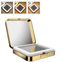 USB LED Lights 10x увеличительное квадратное зеркало для макияжа складное двустороннее Косметическое зеркало женщины макияж красота инструменты