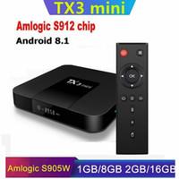 TX3 البسيطة AMLogic نوع S912 / S905W الروبوت 8.1 الذكية TV BOX 2GB 16GB WIFI 2.4G كاجا دي التلفزيون الروبوت H96 X96 الهواء