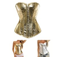 Women Plus Size S-6XL Fashion PVC Leather Padded Overbust Bustier Zipper Dance Corset Top with Polka Dots Details Gold Silver Free Drop Ship