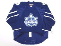 Cheap custom TORONTO MARLIES AHL BLUE HOCKEY JERSEY stitch a...
