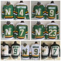 7 Neal Broten Jersey 녹색 화이트 달라스 별 빈티지 유니폼 Brian Bellows 4 Craig Hartsburg 9 Mike Modano Sport 모든 스티치