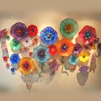 Lámparas modernas Arte Plato Colorido Mano Florada Vidrio Placas Colgantes Platifilla Murano Estilo Flower Wall Art For Restaurant Hotel Proyectos
