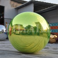 2 متر قطرها العملاق الحراس نفخ مرآة الكرة للزينة pvc عيد الميلاد الحلي الإعلان مراكة بالون اللعب في الهواء الطلق