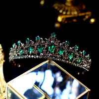 2019 Vintage Crown Crown Dark Green Rhinestone Accesorios de pelo con cuentas de la banda de la banda de la banda de la banda de la cinta de la cinta de la corona de la cinta del tiara
