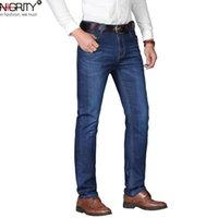 NIGRITY Man джинсы 2020 Новая мода бизнеса повседневные джинсовые брюки мужчины прямой вырезать небольшие брюки стрейч большого размера 29-42 4 цвета CX200701