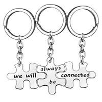 """3 개 / 대 스테인레스 스틸 열쇠 고리 창조적 조각 """"우리는 항상 연결""""퍼즐 펜던트 열쇠 고리 매력 커플 열쇠 고리 보석"""