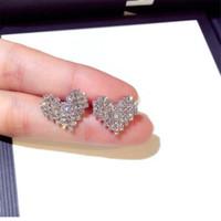 Coréenne douce Mode Simple Mignon Bijoux Argent 925 Pave blanc Sapphire CZ diamant Gemstones femmes mariée dormeuses cadeau