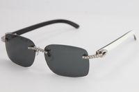 Vente Rimless lunettes main Big pierres à l'intérieur blanc noir d'origine corne de buffle Des lunettes de soleil lunettes mâle et femelle C décoration or f