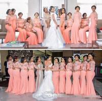 Nigérian Africain Plus Taille Robes de demoiselle d'honneur de la taille 2019 Manches demi-longues de corail Haut de lace de dentelle balayer Maid d'honneur Honory Occasion Robes