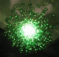녹색 거품 샹들리에 LED 전구 AC 110-240V 축제 램프 핸드 블로우 무라노 유리 크리스탈 샹들리에 빛