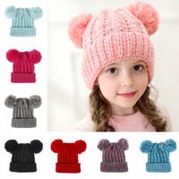 Moda Çocuk Örgü Pom Şapka Çocuklar Sıcak Kış Tığ Kafatası Cap Açık Kız Kayak Noel Parti Şapkası TTA1836 Caps