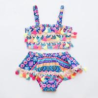 Vieeoase الفتيات المايوه 2 قطع السباحة مصمم الأزياء نمط القطن الاطفال ملابس السباحة الصيف الاستحمام البدلة الأطفال السباحة CC-707