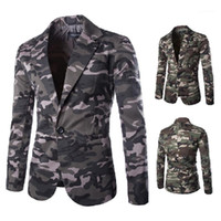 Sleeves Single Button Suit Male Blazers Designer Mens Camouflage Blazers Fashion Lapel Neck Printed Jacket Mens Casual Long
