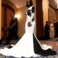 Великолепные белые и черные русалки выпускные платья 2020 Глубокие V-образные кружевные аппликации с длинными рукавами Вечернее платье Вечерние платья Ветидос