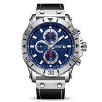 MEGIR Chronographe Sport Hommes Montres Top Marque de luxe en cuir Quartz Hommes Horloge Montres-bracelets Relogio Masculino Reloj Hombre