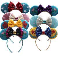 Mädchen Pailletten Bogen Haarschmuck Maus Ohren Prinzessin Stirnbänder Kinder Haarstangen Baby Kinder Halloween Weihnachten Cosplay Haarberufsreifen C1324