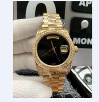 Moda Men Watch Bezel Diamond Black Dial ouro pulseira de aço inoxidável Asia 2813 Automatic Luxo Relógio de pulso frete grátis