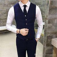 دعوى رجل الأعمال سليم سترة بلا أكمام موضة لون الصلبة ملابس رجالي ذكر الملابس